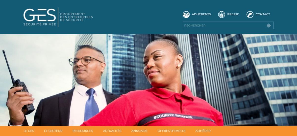 Page d'accueil du site internet du GES